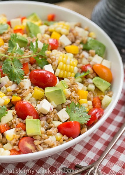 Summer Farro Salad | Farro, cukes, avocados, tomatoes and fresh corn ...