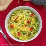 Zucchini Noodles with Parmesan #HandHeldSpiralizer