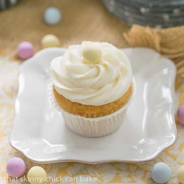 Buttercream Topped Vanilla Cupcakes on a small white plate