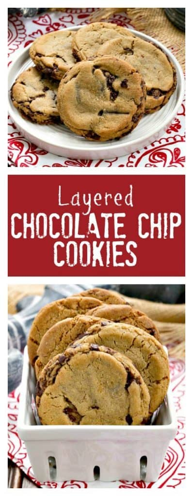 Layered Chocolate Chip Cookies | Dark Brown sugar and layers of bittersweet chocolate shards make these a one of a kind chocolate chip cookie!