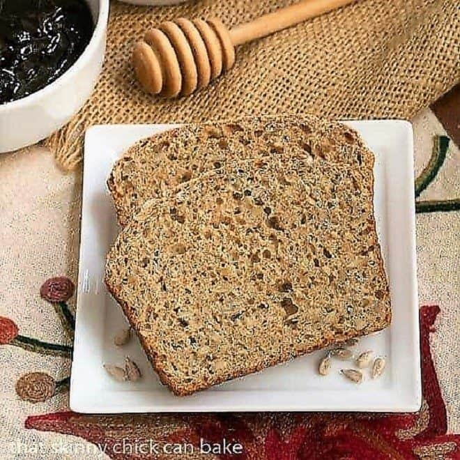 Sunflower Whole Wheat Bread on a white plate