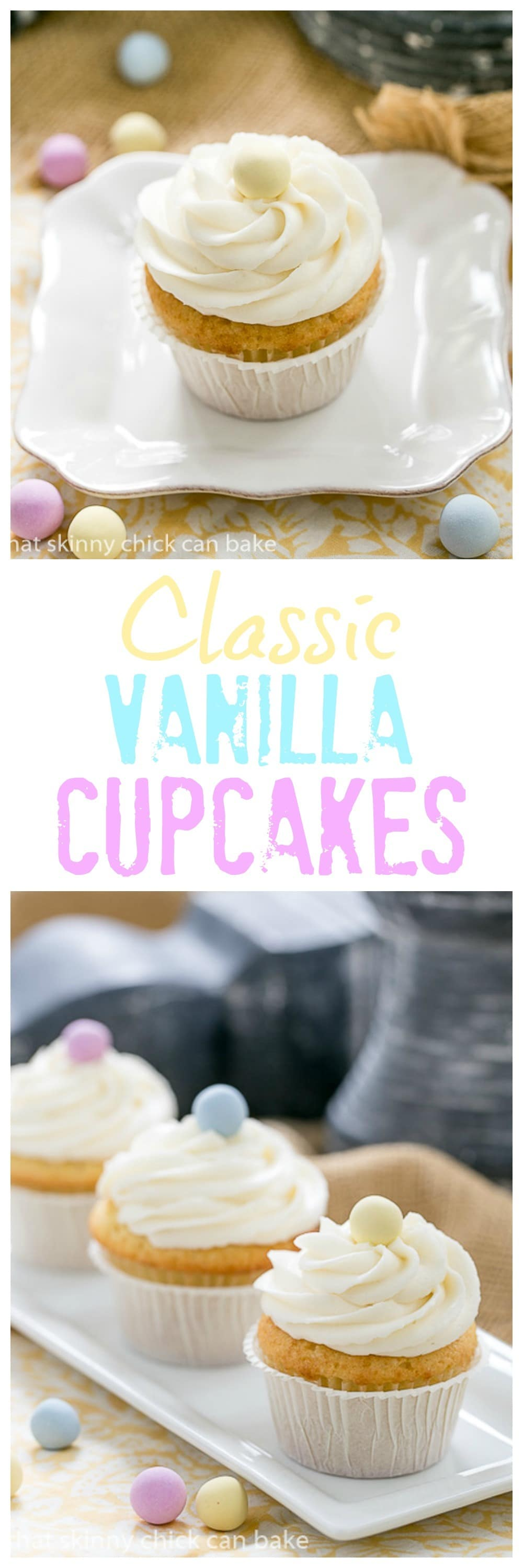 Buttercream Topped Vanilla Cupcakes collage for pinterest