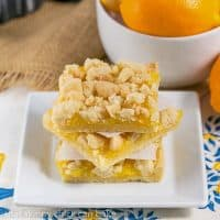 Meyer Lemon Streusel Bars   A scrumptious lemon bar with a sugar cookie crumble topping