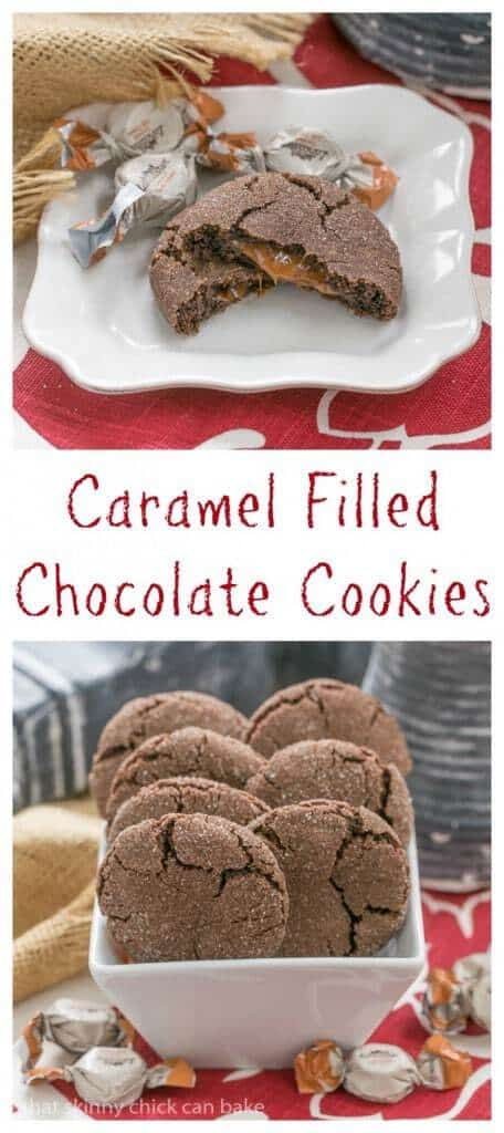 Caramel Filled Chocolate Cookies | Soft gooey caramel in every bite of these terrific chocolate cookies