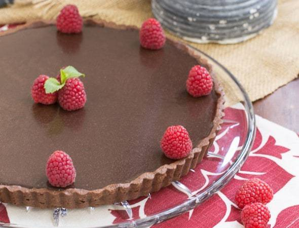 Dark Chocolate Tart | A cocoa crust with a silky bittersweet filling and topped with a rich ganache