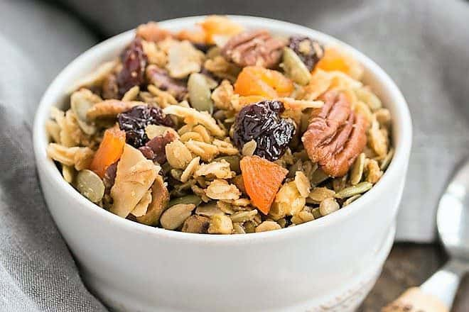 Maple Coconut Granola in a white bowl