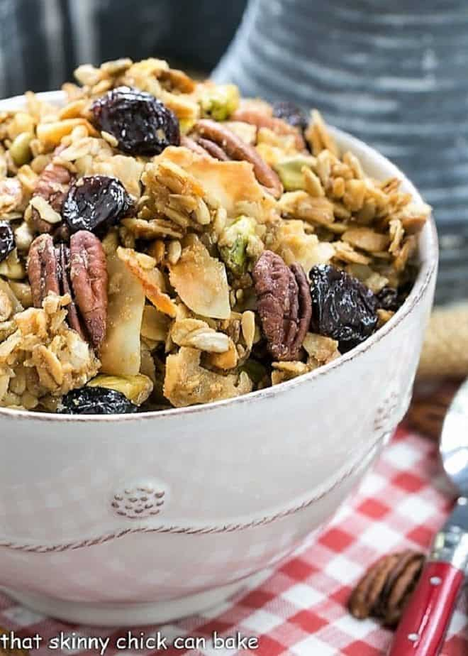 Maple Coconut Granola in a white ceramic bowl