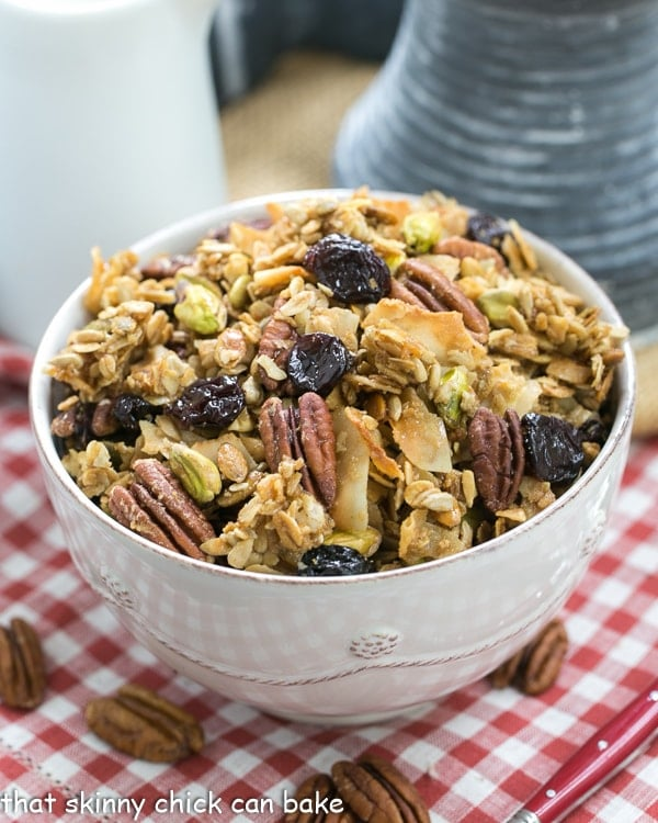 Maple Coconut Granola - An irresistible granola sweetened with maple syrup and full of nuts, seeds and dried cherries