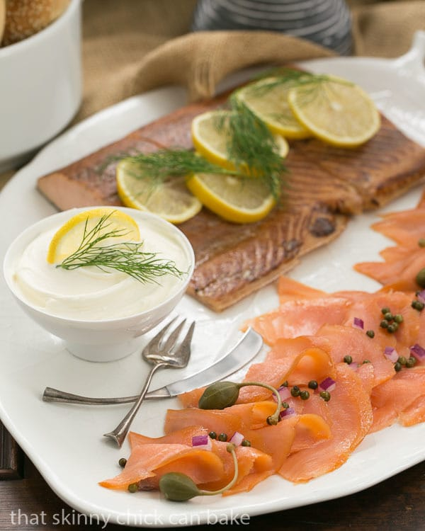 Smoked Salmon Platter with two kinds of salmon, dill, capers and slice lemons