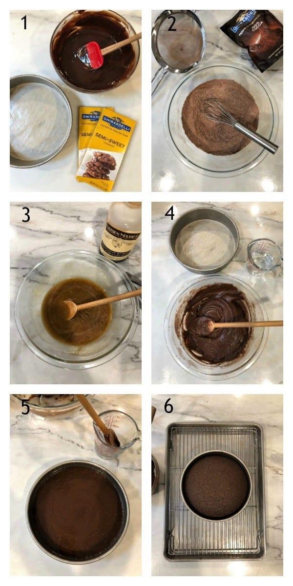 One layer fudge cake process shots photo collage