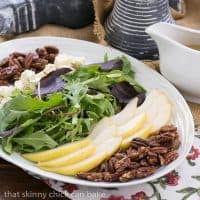 Blue Cheese and Pear Salad   A perfect fall or winter salad with candied pecans and a maple vinaigrette