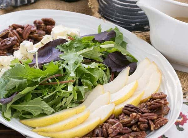Blue Cheese and Pear Salad | A perfect fall or winter salad with candied pecans and a maple vinaigrette