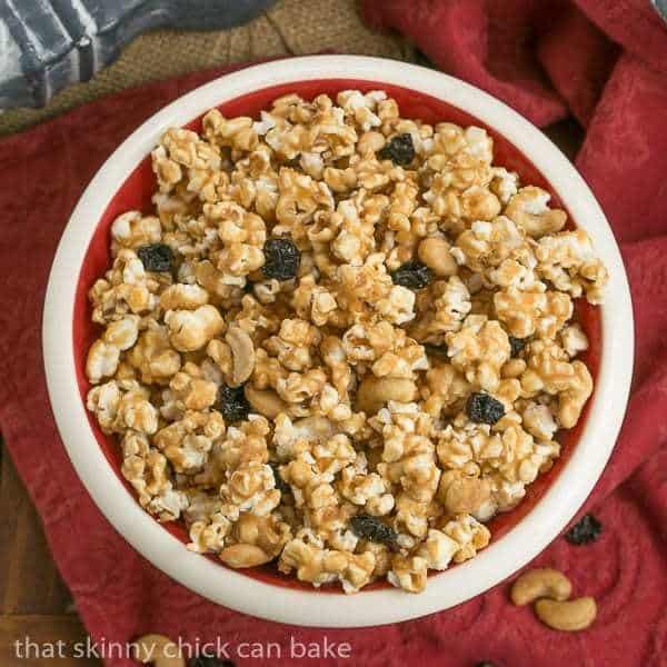 bowl of homemade Caramel Corn with Cashews and Cherries