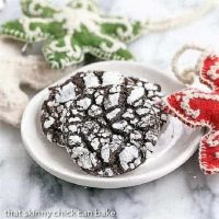 Chocolate Crinkles on a white plate