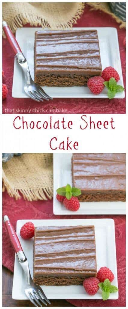Chocolate Sheet Cake | Rich, moist chocolate cake topped with a layer of fudgy frosting. Perfect for any gathering!