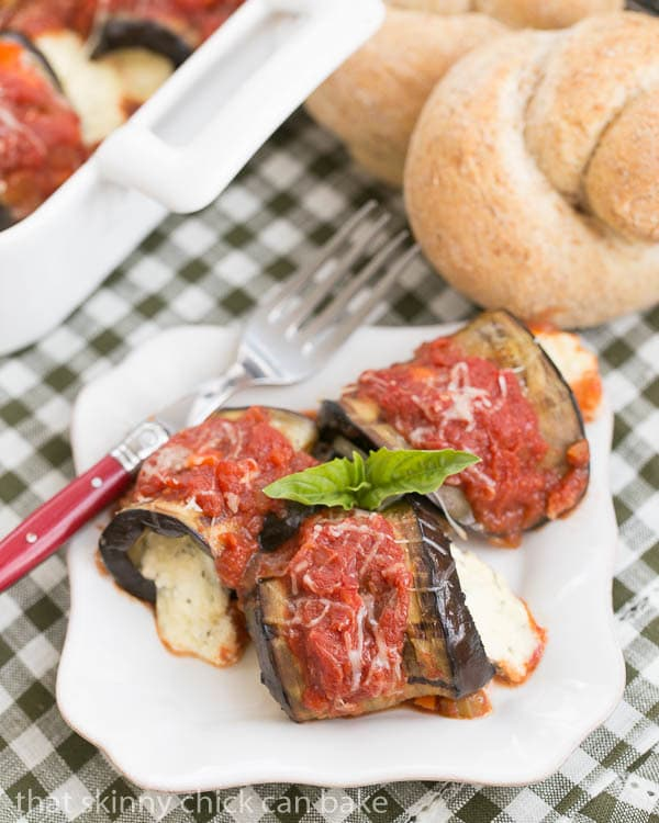 Eggplant Rollatini - A delightful vegetarian entree featuring grilled eggplant rolled around a ricotta mozzarella filling
