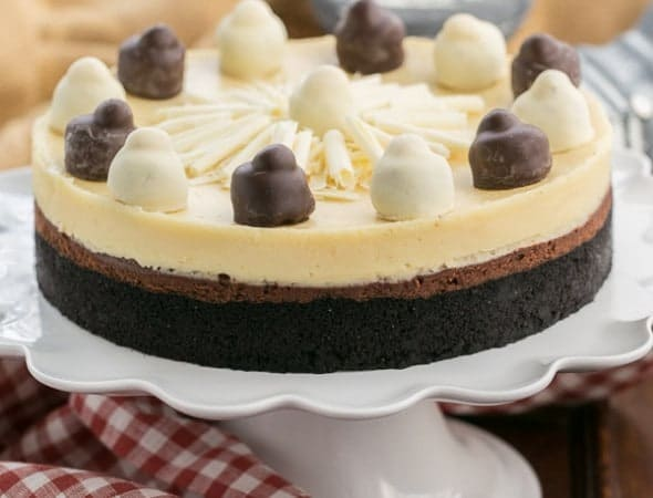 Layered Chocolate Cheesecake | A chocolate cookie crust topped with lusious dark chocolate and Frangelico white chocolate cheesecake #ad #JointheFamilyTable from thatskinnychickcanbake.com @lizzydo
