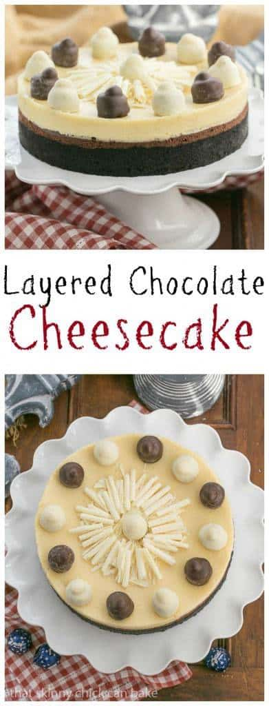 Layered Chocolate Cheesecake   A chocolate cookie crust topped with lusious dark chocolate and Frangelico white chocolate cheesecake #ad #JointheFamilyTable from thatskinnychickcanbake.com @lizzydo