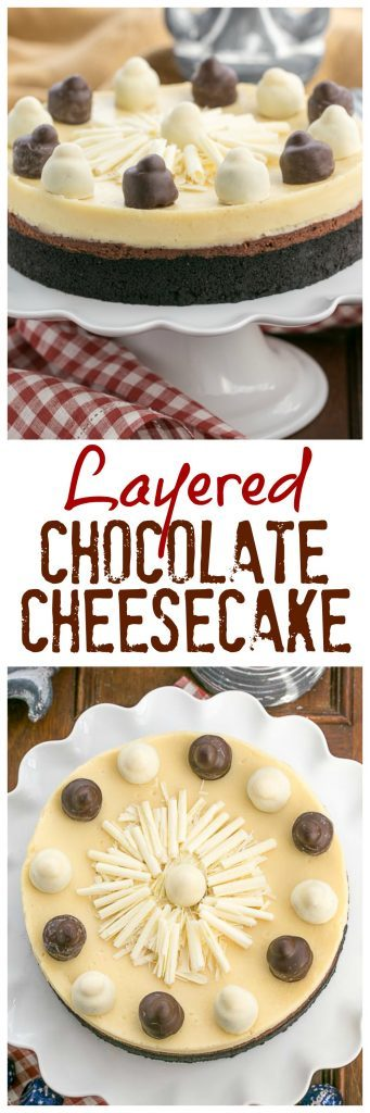 Layered Chocolate Cheesecake | A chocolate cookie crust topped with luscious dark chocolate and Frangelico white chocolate cheesecake @lizzydo
