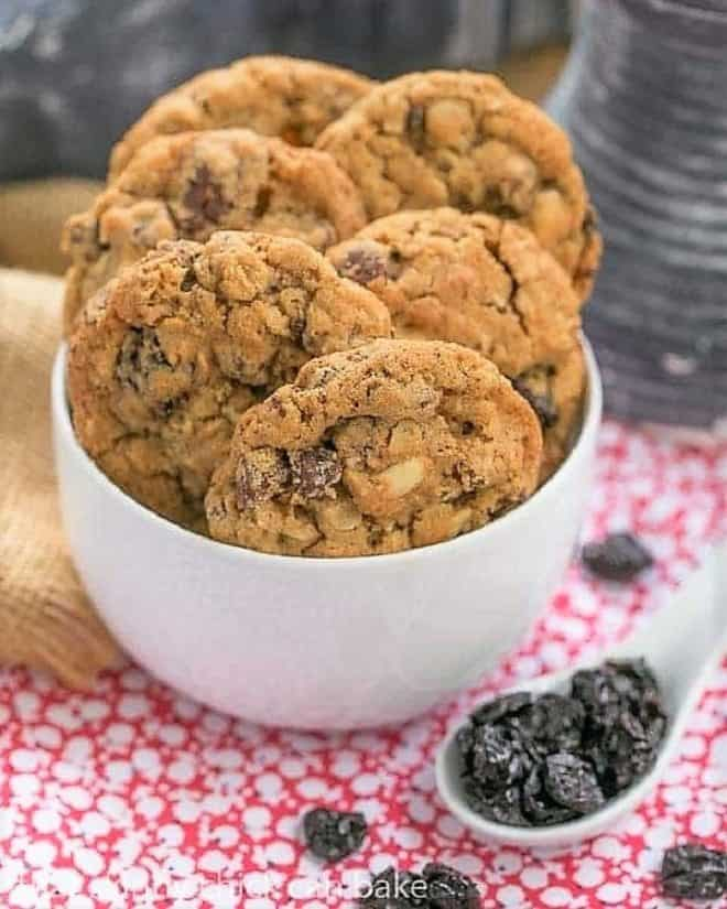 Loaded Oatmeal Cookies in a white bowl