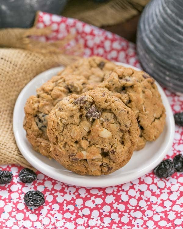 Loaded Oatmeal Cookies - Chewy oatmeal cookies filled with almonds, dried cherries and chocolate
