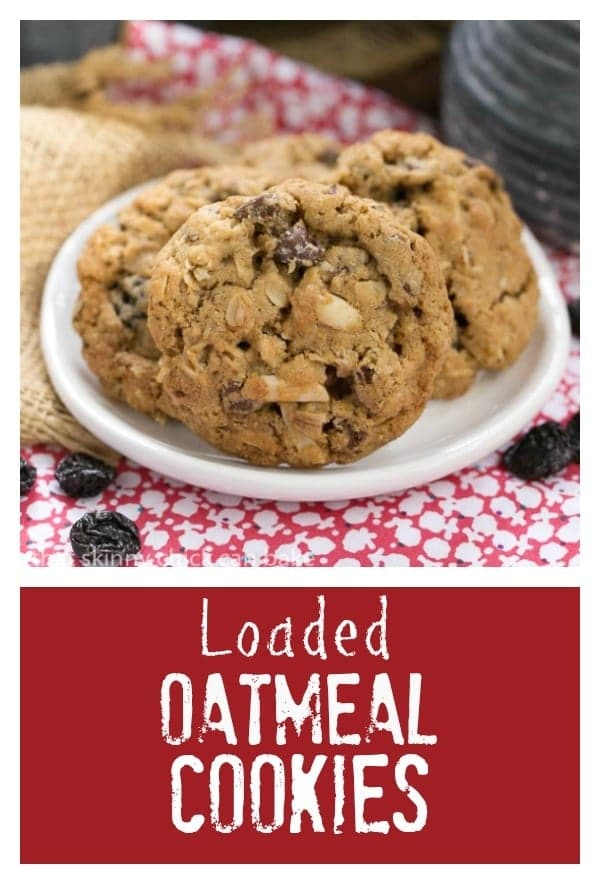 oatmeal cookies filled with almonds, dried cherries and chocolate