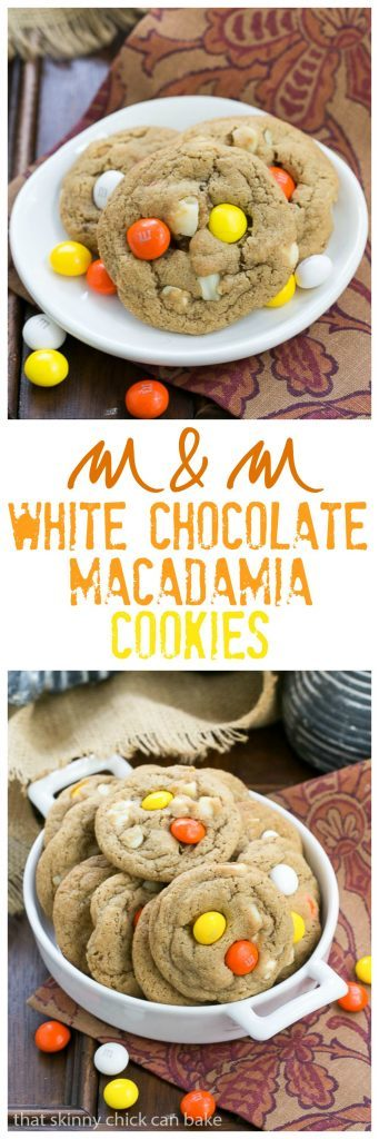 White Chocolate Macadamia Nut Cookies - Chewy, buttery cookies filled with white chocolate, M&M's and macadamia nuts