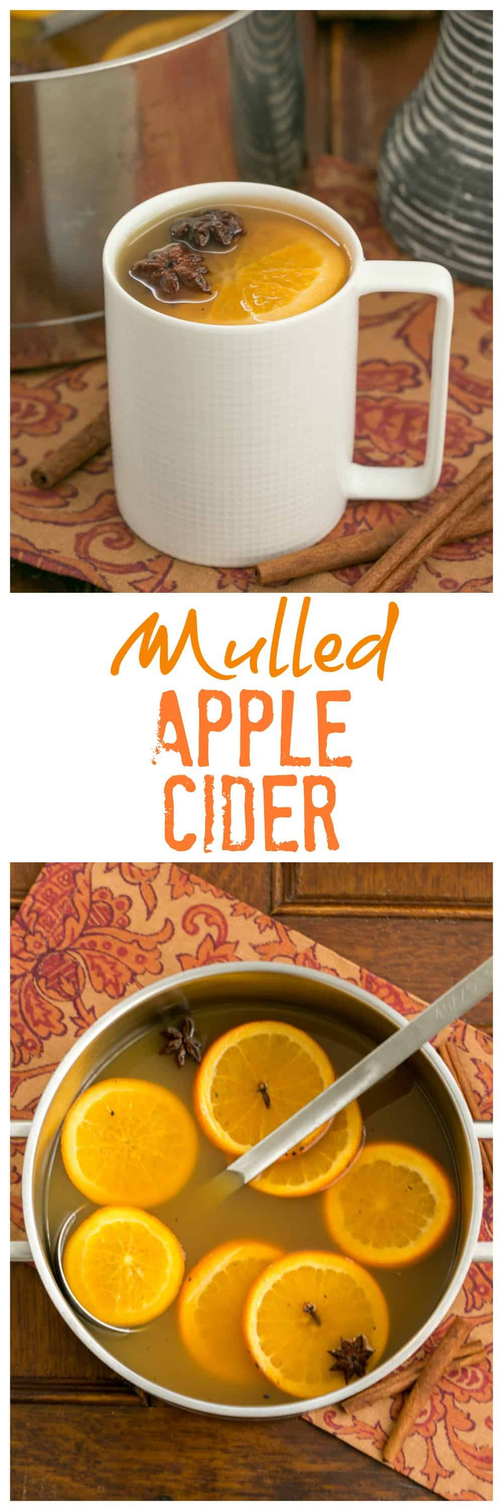 Mulled Apple Cider - Hot cider flavored with vanilla, oranges and warm autumn spices. Perfect for holiday parties, apres ski parties or anytime you need to warm your soul. #cider #mulledcider #applecider