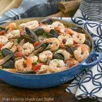 Julia Child's Paella a l'Americaine - Julia's twist on an extraordinary Spanish Classic with rice, saffron, shrimp, mussels and chorizo