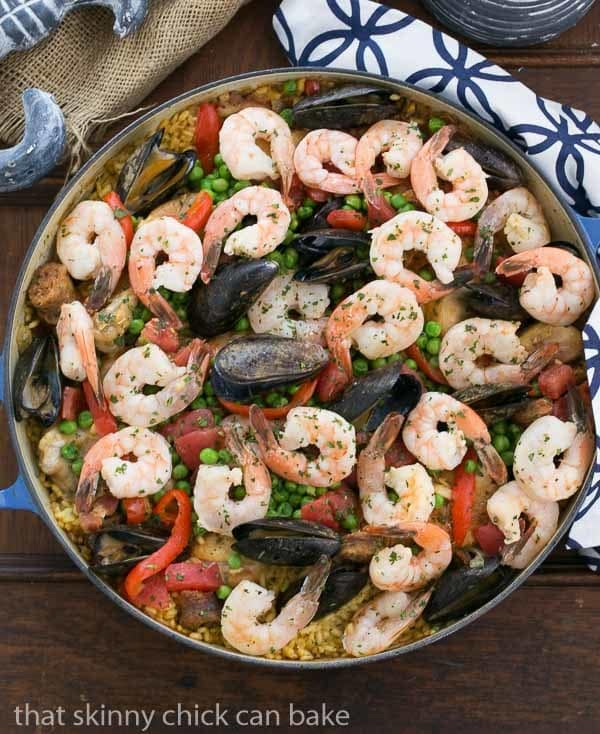 Paella a l'Americaine | Julia's twist on an extraordinary Spanish Classic with rice, saffron, shrimp, mussels and chorizo