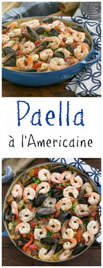 Paella a l'Americaine | Julia's twist on an extraordinary Spanish Classic with rice, saffron, shrimp, mussels and chorizo from thatskinnychickcanbake.com @lizzydo