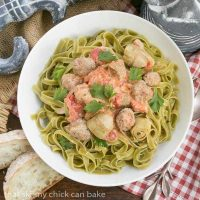 Pasta with Sausage and Cream Pasta swirled with a creamy sauce, artichoke hearts, tomatoes and Italian sausage. #ad #JoinTheTable
