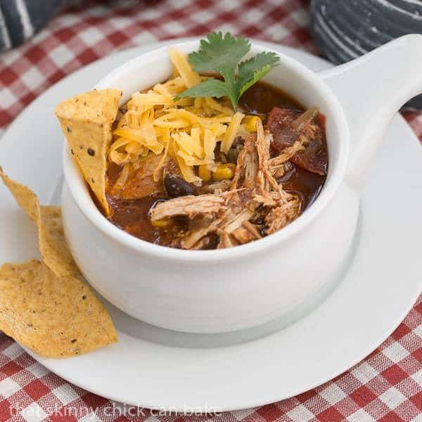 Slow Cooker Chicken Enchilada Soup - That Skinny Chick Can Bake