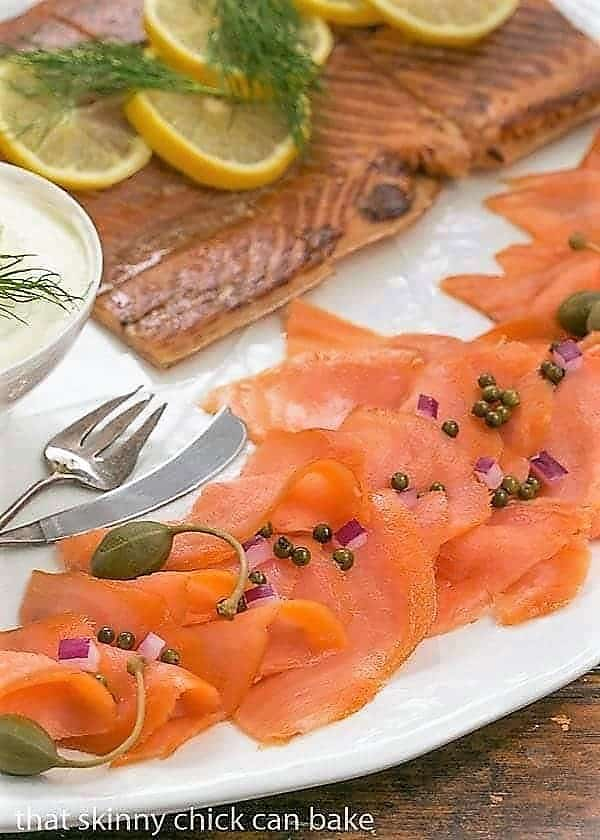 Close view of Smoked Salmon Platter on a white ceramic tray