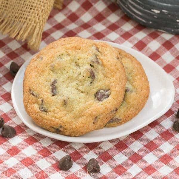 Thin Chewy Chocolate Chip Cookies #TwoSweetiePies