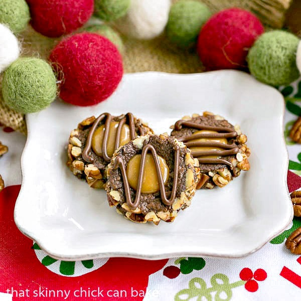 Turtle Thumbprint Cookies on a white plate
