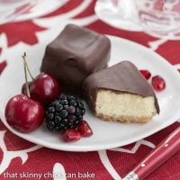 Chocolate Dipped Cheesecake Bites | Exquisite, bite-sized gems for your holiday buffet!