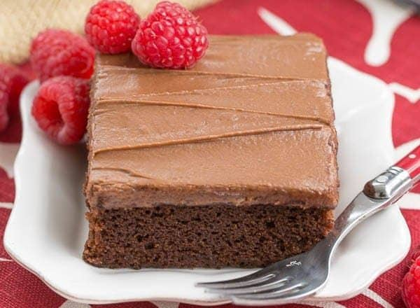 Chocolate Raspberry Snack Cake | A layer of Chambord spiked jam adds a delicious element to this dessert