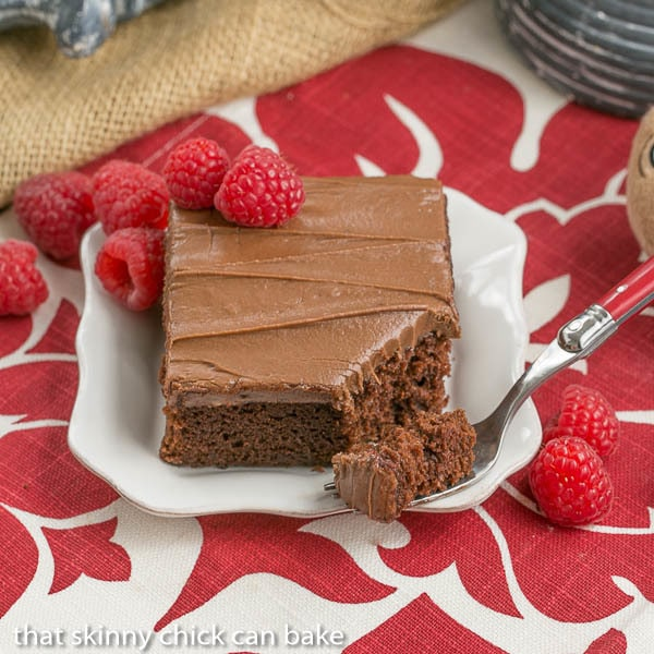 Chocolate Raspberry Snack Cake - A layer of Chambord spiked jam adds a delicious element to this dessert