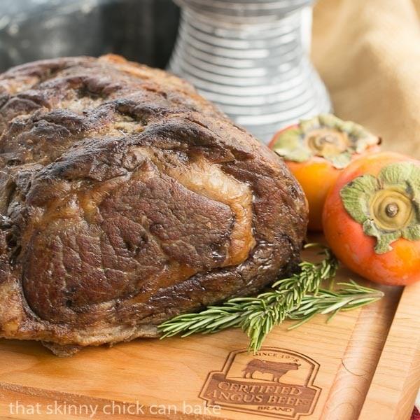 Classic Prime Rib roast on a cutting board
