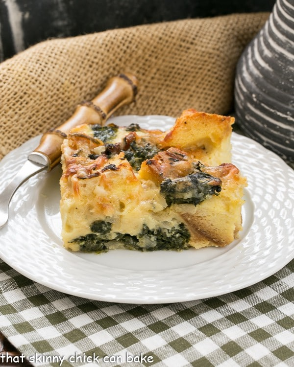 Gruyere Spinach Strata A terrific cheesy breakfast casserole made with bread, French Gruyere and spinach!