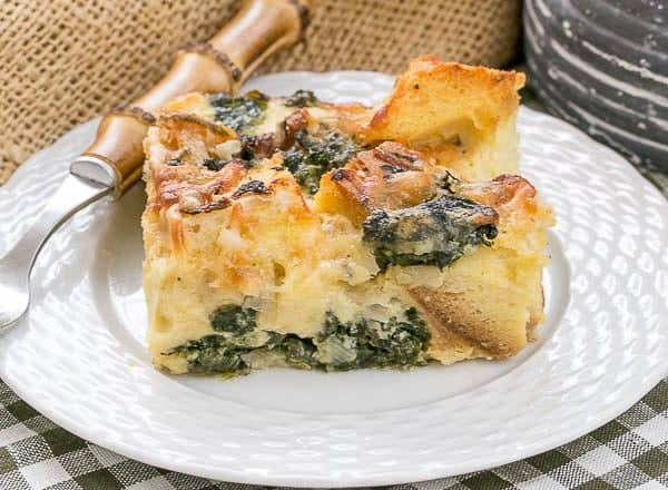 Gruyere Spinach Strata | A terrific cheesy breakfast casserole made with bread, French Gruyere and spinach!
