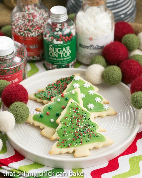 Best Sugar Cookies with holiday frosting and sprinkles