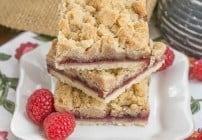 Raspberry Crumb Bars #TwoSweetiePies