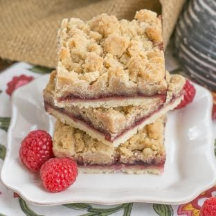 Raspberry Crumb Bars Simple, but delectable bars with a layer of raspberry jam and a thick crumb topping!
