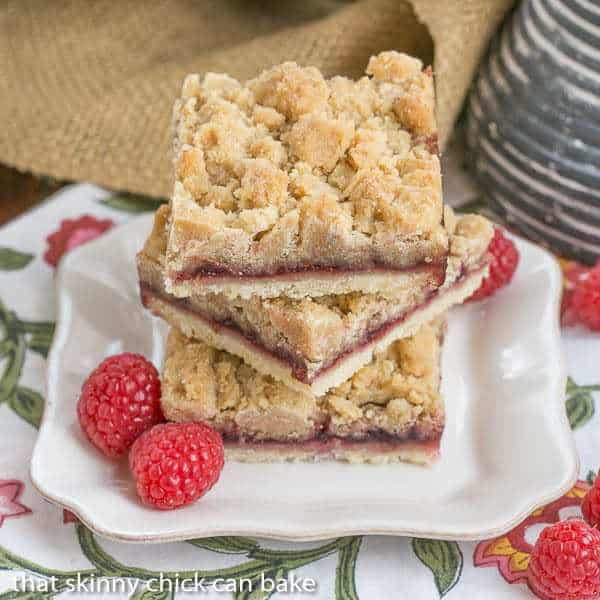 A stack of Raspberry Crumb Bars