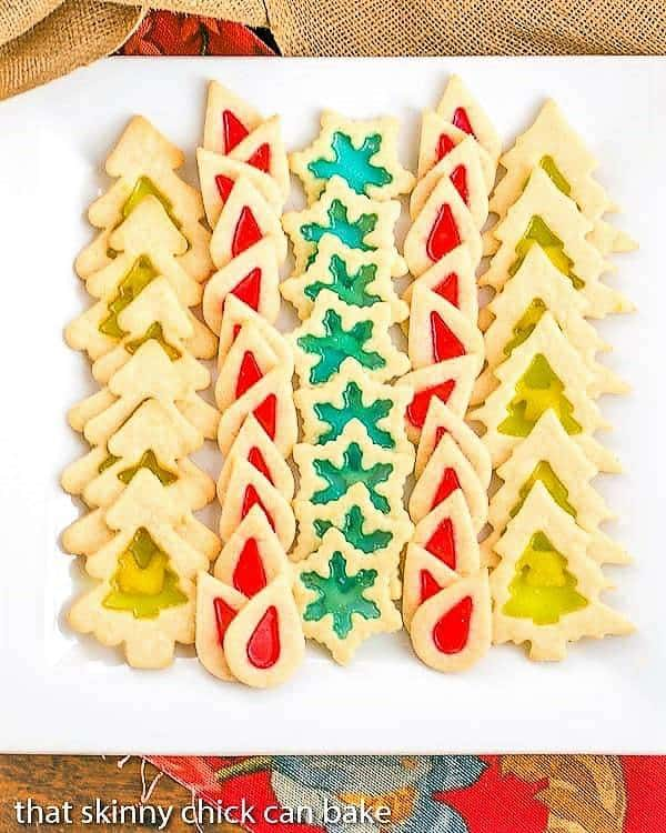 Stained Glass Cookies lined up on a square white platter