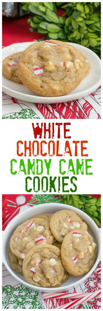 White Chocolate Candy Cane Cookies | A chewy, buttery cookie filled with white chocolate chips and crushed candy canes