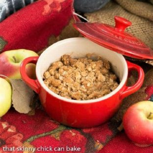Apple Pear Crisp in a small red crock