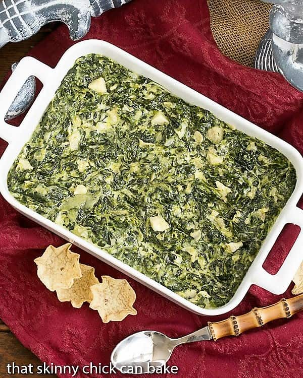 casserole dish of warm Cheesy Spinach Dip